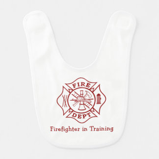 Fire Dept Firefighter in Training Baby Bib