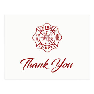 Fire Dept - Firefighter Thank You Postcard