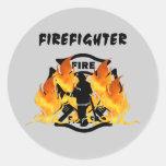Fire Dept Flames Classic Round Sticker