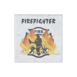 Fire Dept Flames Stone Magnet