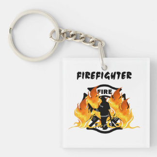 Fire Dept Flames Square Acrylic Key Chain
