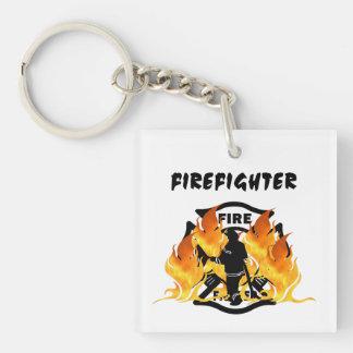 Fire Dept Flames Acrylic Key Chain