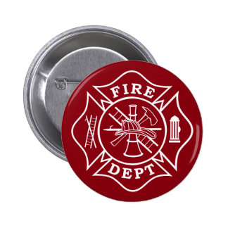 Fire Dept Maltese Cross, 2¼In. Round Button