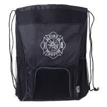 Fire Dept Maltese Cross Drawstring Backpack