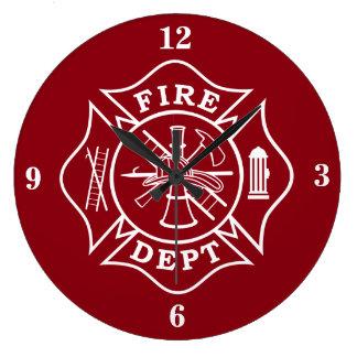 Fire Dept Maltese Cross Large Wall Clock