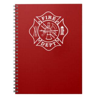 Fire Dept Maltese Cross Note Pad Spiral Notebook