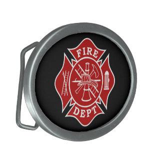 Fire Dept Maltese Cross Oval Belt Buckle