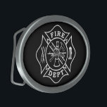 "Fire Dept Maltese Cross Oval Belt Buckle<br><div class=""desc"">Fire Dept Maltese Cross Oval Belt Buckle is the perfect gift item for any firefighter to wear proudly.</div>"