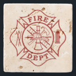 """Fire Dept Maltese Cross Travertine Coaster<br><div class=""""desc"""">Fire Dept Maltese Cross Travertine Coaster is a great house warming gift for any firefighter or just for home decoration.</div>"""