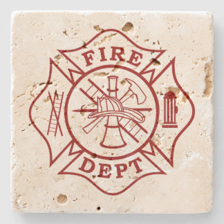 Fire Dept Maltese Cross Travertine Coaster