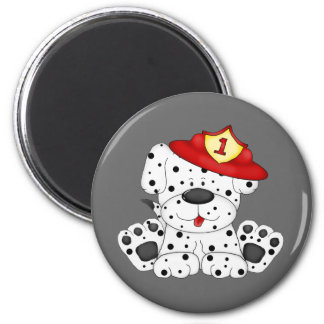 Fire Dog Dalmation and Hat 2 Inch Round Magnet