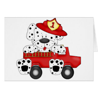Fire Dog Dalmation and Hat Greeting Card