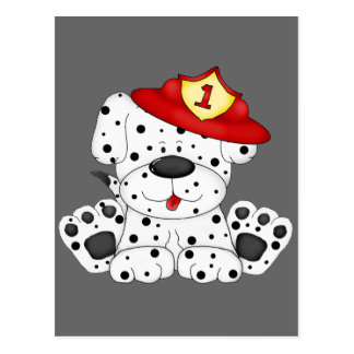 Fire Dog Dalmation and Hat Post Card
