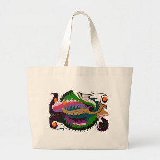Fire Dragon (Red & Green) Large Tote Bag