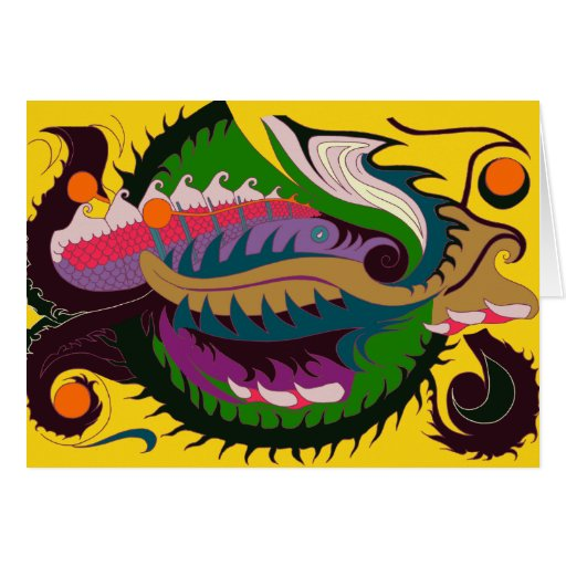 Fire Dragon (Red & Green on Gold) Card