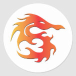 Fire Dragon Round Stickers