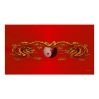 Fire Dragons with Yin-Yang Poster