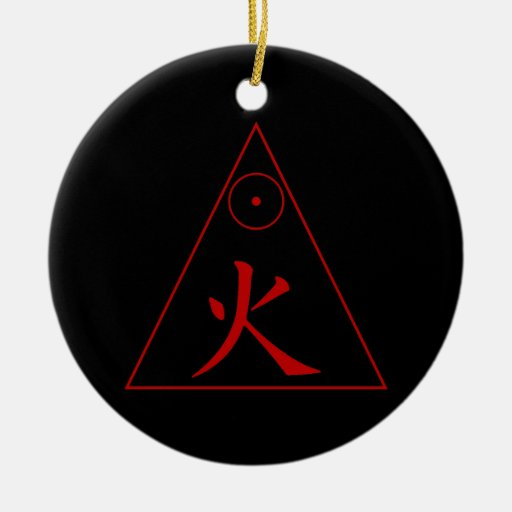 Fire Element Double-Sided Ceramic Round Christmas Ornament