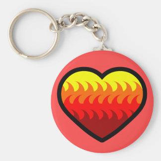 Fire Element Heart Basic Round Button Keychain