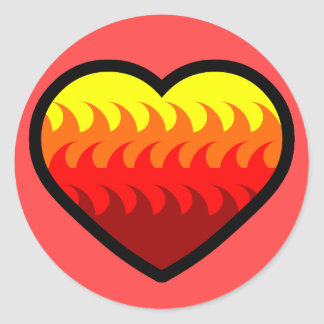 Fire Element Heart Classic Round Sticker