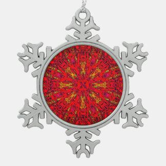 FIRE Element Kaleido Pattern Snowflake Pewter Christmas Ornament