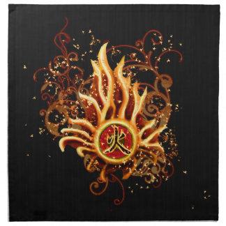 Fire Element Kanji art Illustration Cloth Napkin
