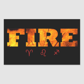 Fire Element with Zodiac Signs Rectangular Stickers