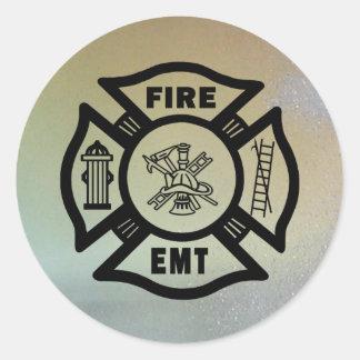FIRE EMT CLASSIC ROUND STICKER