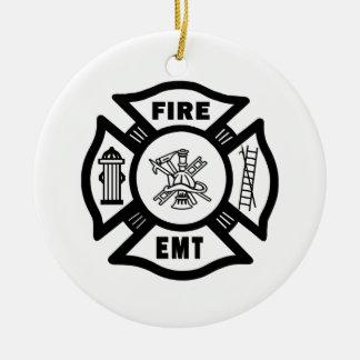FIRE EMT Double-Sided CERAMIC ROUND CHRISTMAS ORNAMENT