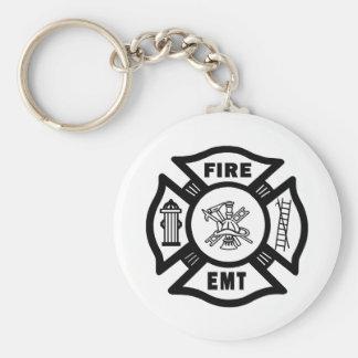 FIRE EMT BASIC ROUND BUTTON KEYCHAIN