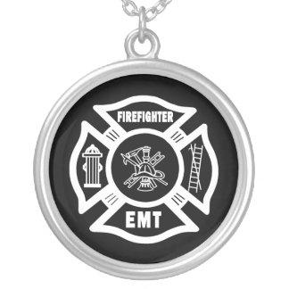 FIRE EMT ROUND PENDANT NECKLACE