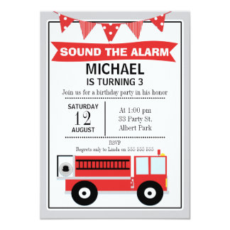 Fire Engine And Bunting Birthday Invitation