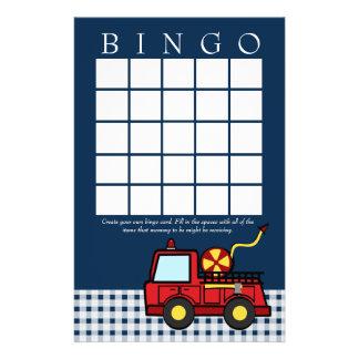 Fire Engine Baby Shower Bingo Card Stationery