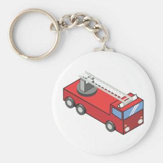 Fire engine basic round button keychain