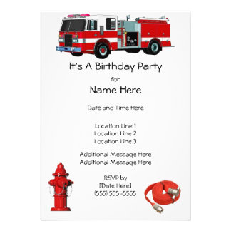 Fire Engine Birthday Party Invites