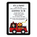 "Fire Engine Birthday with Photo 5"" X 7"" Invitation Card"