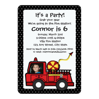 Fire Engine Birthday with Photo 5x7 Paper Invitation Card