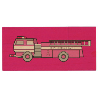 Fire Engine: Breast Cancer Fighting for a Cure! Wood USB Flash Drive