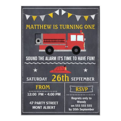Fire Truck Engine Firefighter Flat Thank You Cards – Fire Engine Party Invitations