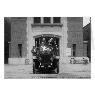 Fire Engine Crew at Firehouse, 1925 Card