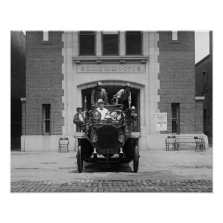 Fire Engine Crew at Firehouse, 1925. Vintage Photo Poster