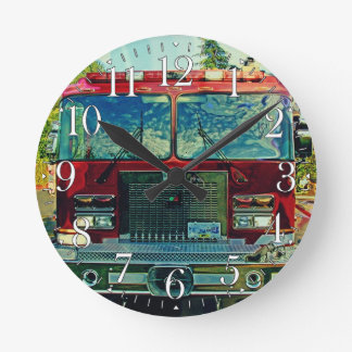 Fire Engine Firefighters Wall Clock