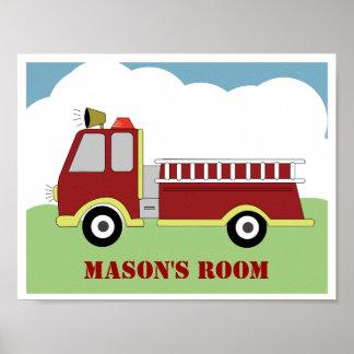 Fire Engine Firetruck Personalized Art Print
