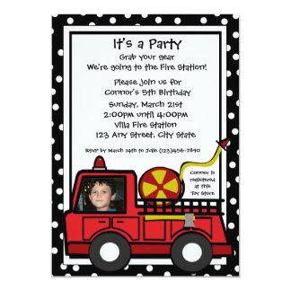 Fire Engine Fun/ Photo 5x7 Paper Invitation Card