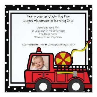 Fire Engine Fun/ Photo 5.25x5.25 Square Paper Invitation Card