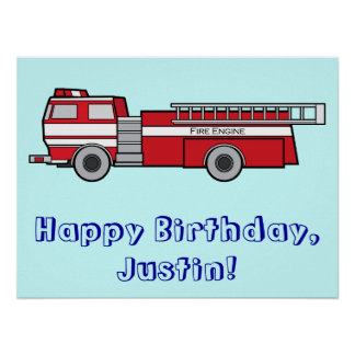 Fire Engine Happy Birthday Name Customizable Poster