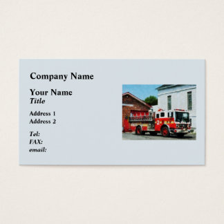 Fire Engine in Front of Fire Station Business Card