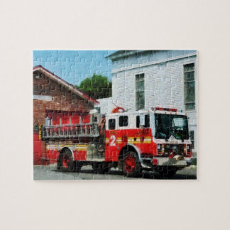 Fire Engine in Front of Fire Station Jigsaw Puzzle