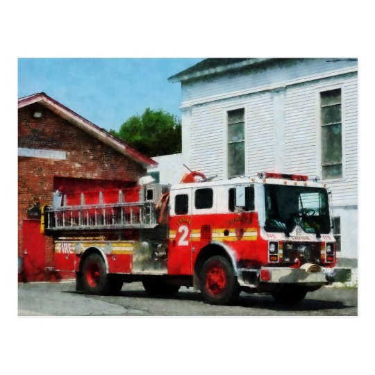 Fire Engine in Front of Fire Station Postcard
