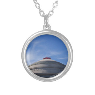 Fire Engine on top of building Round Pendant Necklace